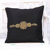 Embroidered cushion cover, 'Crown of Flowers in Black' - Hand Embroidered Black Floral Cushion Cover from India