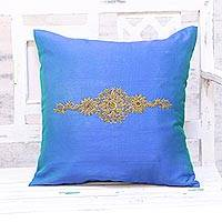 Embroidered cushion cover, 'Crown of Flowers in Blue' - Hand Embroidered Blue Floral Cushion Cover from India