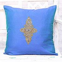 Embroidered cushion cover, 'Floral Kashmiri in Blue' - Hand Embroidered Blue Floral Cushion Cover from India