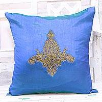 Embroidered cushion cover, 'Majestic Kashmiri in Blue' - Hand Embroidered Blue Floral Cushion Cover from India