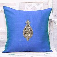Embroidered cushion cover, 'Golden Beauty in Blue' - Hand Embroidered Blue Cushion Cover from India