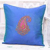 Embroidered cushion cover, 'Kashmiri Paisley in Blue' - Hand Embroidered Blue Paisley Motif Cushion Cover from India