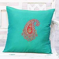 Embroidered cushion cover, 'Kashmiri Paisley in Green' - Hand Embroidered Turquoise Paisley Cushion Cover from India