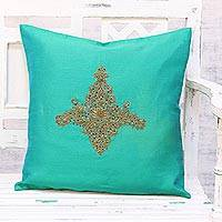 Embroidered cushion cover, 'Majestic Kashmiri in Green' - Hand Embroidered Turquoise Floral Cushion Cover from India