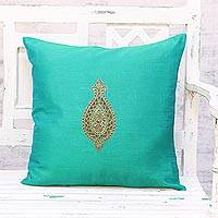 Embroidered cushion cover, 'Golden Beauty in Green' - Hand Embroidered Turquoise Floral Cushion Cover from India
