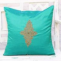 Embroidered cushion cover, 'Floral Kashmiri in Green' - Hand Embroidered Turquoise Floral Cushion Cover from India
