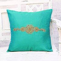 Embroidered cushion cover, 'Crown of Flowers in Green' - Hand Embroidered Turquoise Floral Cushion Cover from India