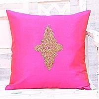 Embroidered cushion cover, 'Floral Kashmiri in Fuchsia' - Hand Embroidered Fuchsia Floral Cushion Cover from India