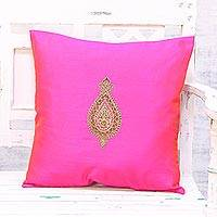 Embroidered cushion cover, 'Golden Beauty in Fuchsia' - Hand Embroidered Fuchsia Floral Cushion Cover from India