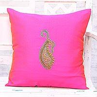 Embroidered cushion cover, 'Paisley Perfection in Fuchsia' - Hand Embroidered Fuchsia Paisley Cushion Cover from India