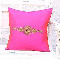 Embroidered cushion cover, 'Crown of Flowers in Fuchsia' - Hand Embroidered Fuchsia Floral Cushion Cover from India