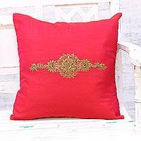 Embroidered cushion cover, 'Crown of Flowers in Red' - Hand Embroidered Red Floral Cushion Cover from India