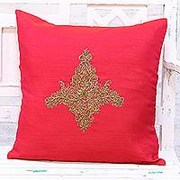 Embroidered cushion cover, 'Majestic Kashmiri in Red' - Hand Embroidered Red Floral Cushion Cover from India
