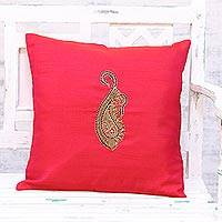 Embroidered cushion cover, 'Paisley Perfection in Red' - Hand Embroidered Red Paisley Cushion Cover from India