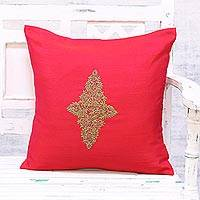 Embroidered cushion cover, 'Floral Kashmiri in Red' - Hand Embroidered Red Floral Cushion Cover from India