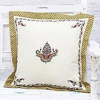 Wool cushion cover, 'Paisley Harmony' - Hand Embroidered Wool Floral Paisley Cushion Cover