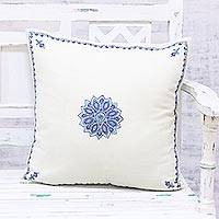 Wool cushion cover, 'Mesmerizing Flora' - Hand Embroidered Wool Floral Cushion Cover from India