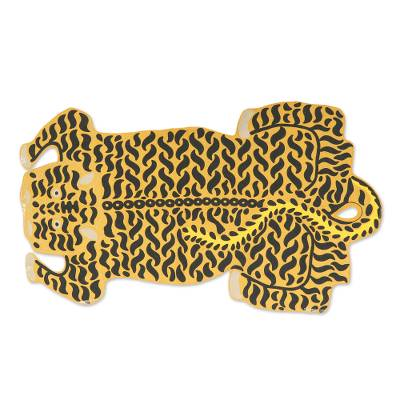 Chain stitched wool rug, 'Royal Tiger' (4x6) - Chain Stitched 100% Wool Tiger Motif Rug from India (4x6)