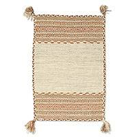 Cotton dhurrie rug, 'Delhi Delight in Beige' (2x3) - Hand Woven Cotton Geometric Dhurrie Rug from India (2x3)