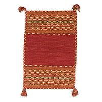 Cotton dhurrie rug, 'Delhi Delight in Burgundy' (2x3) - Hand Woven Cotton Geometric Dhurrie Rug from India (2x3)