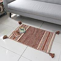 Cotton dhurrie rug, 'Delhi Delight in Brown' (2x3) - Hand Woven Cotton Geometric Dhurrie Rug from India (2x3)