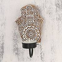 Wood tealight candle sconce, 'Hamsa Blossom' - Handcarved Indian Hamsa Motif Wood Tealight Candle Sconce