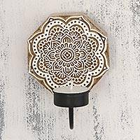 Wood tealight candle sconce, 'Sunny Blossom' - Handcarved Floral Wood Tealight Candle Sconce from India