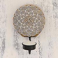 Wood tealight candle sconce, 'Dahlia Delight' - Handcarved Floral Wood Tealight Candle Sconce from India