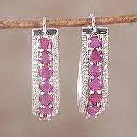 Ruby and diamond hoop earrings, 'Jaipur Majesty' - Indian Ruby and White Topaz Sterling Silver Hoop Earrings