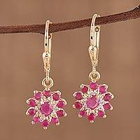 Featured review for Gold plated ruby and topaz dangle earrings, Daybreak Blush
