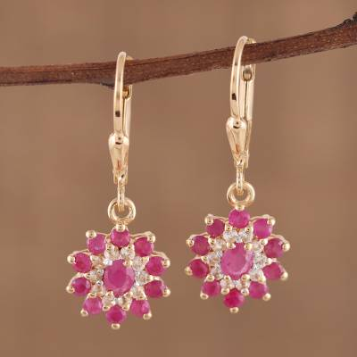 Gold plated ruby and topaz dangle earrings, 'Daybreak Blush' - Indian 14k Gold Plated Ruby and White Topaz Dangle Earrings