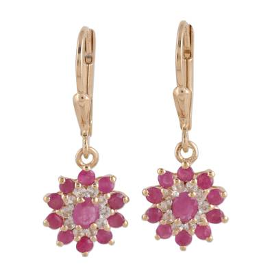 Indian 14k Gold Plated Ruby and White Topaz Dangle Earrings