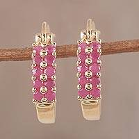Gold plated ruby hoop earrings, 'Sunset Gleam' - Handcrafted Ruby and 14k Gold Plated Hoop Earrings