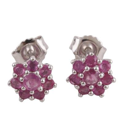 Ruby and Rhodium Plated Sterling Silver Stud Earrings