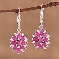 Ruby and topaz dangle earrings, 'Floral Blush' - Indian Ruby and White Topaz Sterling Silver Dangle Earrings