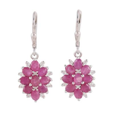 Indian Ruby and White Topaz Sterling Silver Dangle Earrings
