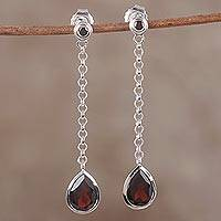 Rhodium plated garnet dangle earrings, 'Claret Drop' - Handmade Garnet Sterling Silver Dangle Earrings from India