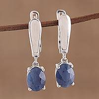 Sapphire dangle earrings, 'Modern Opulence' - Handmade Indian Sapphire and Sterling Silver Dangle Earrings