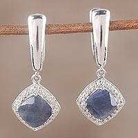 Sapphire and white topaz dangle earrings, 'Aquatic Splendor' - Sapphire and White Topaz Sterling Silver Dangle Earrings