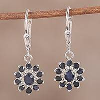 Sapphire and white topaz dangle earrings, 'Dusk Delight' - Sapphire and White Topaz Sterling Silver Dangle Earrings