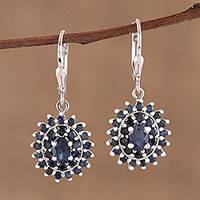 Sapphire dangle earrings, 'Floral Opulence' - Sapphire and Rhodium Plated Sterling Silver Dangle Earrings