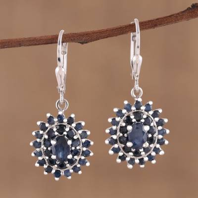 Sapphire dangle earrings, Floral Opulence
