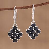 Sapphire dangle earrings, 'Twilight Elegance' - Sapphire and Rhodium Plated Sterling Silver Dangle Earrings