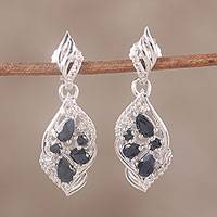 Sapphire and topaz dangle earrings, 'Opulent Duo' - Sapphire and White Topaz Sterling Silver Dangle Earrings