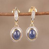 Gold plated sapphire dangle earrings,