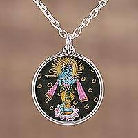 Sterling silver pendant necklace, 'Lord Krishna' - Handmade Krishna Sterling Silver Pendant Necklace from India