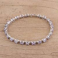 Rhodium plated tanzanite tennis style bracelet, 'Lavender Love' - Rhodium Plated Sterling Silver Tanzanite Tennis Bracelet