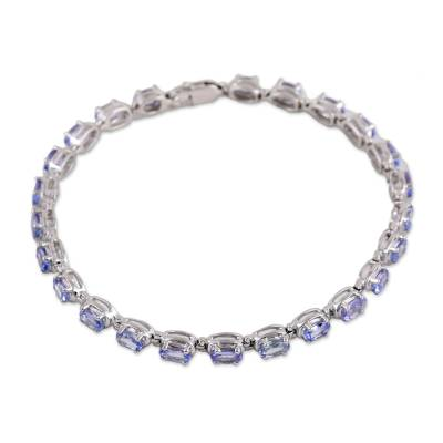 Rhodium Plated Sterling Silver Tanzanite Tennis Bracelet