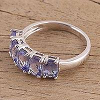 Tanzanite cocktail ring, 'Royal Lavender' - Handcrafted Tanzanite and Sterling Silver Cocktail Ring