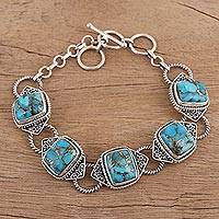 Sterling silver link bracelet, 'Exotic Delight in Blue' - Sterling Silver and Composite Turquoise Link Bracelet